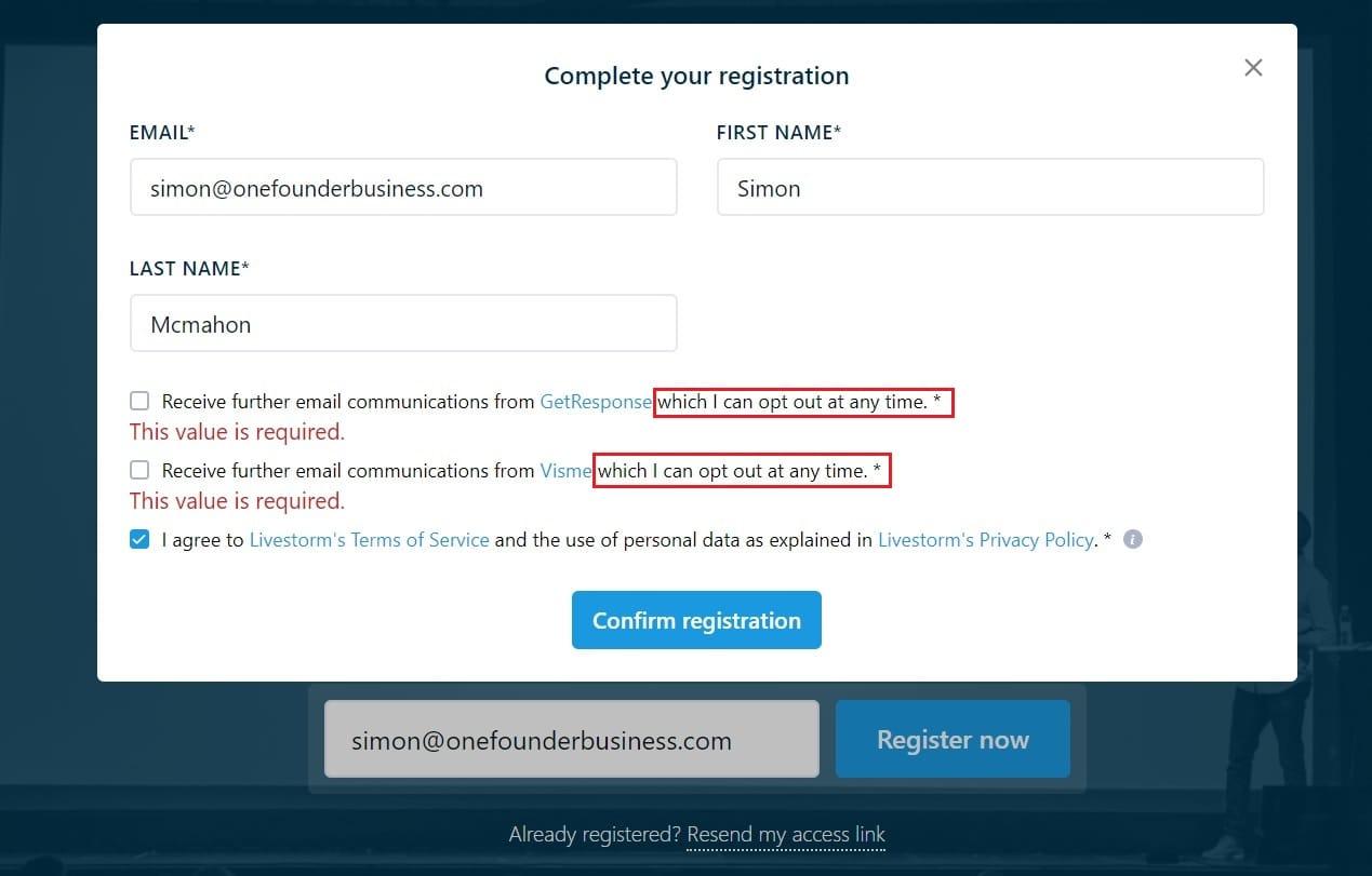 cro web form